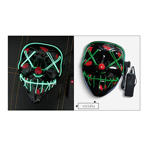 DYG Halloween-Masken für Erwachsene und Kinder, LED-Maske mit 4 Modi, leuchtende Gesichtsmasken Party Bar Horror Ghost Face - Zombie Ghost Face Kind Kostüm