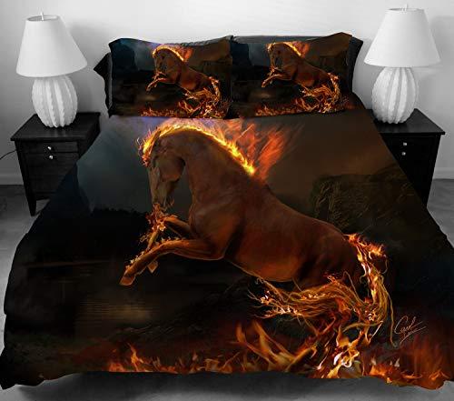 LUOHOME 3-teiliges Bettwäsche-Set für Jugendliche, 100% Polyester, komplett wendbar, 3-teilig, modernes 3D-Flammen-Pferddruck, Doppelbett, volle Größe, King-Size-Größe, Blau, ohne Tröster Full rot -