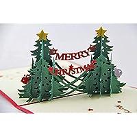 BC Worldwide Ltd main 3D pop up papercraft voeux de noël carte de noël pin arbre forêt pays étoile rouge vert or violet cadeau fête dîner invitation