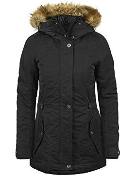 DESIRES Jana Damen Parka lange Jacke Winter-Mantel mit Kapuze und Fellkragen aus hochwertiger Materialqualität
