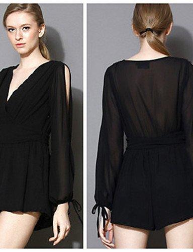 GSP-Combinaisons Aux femmes Manches Longues Sexy / Soirée Autres Transparent Micro-élastique black-s