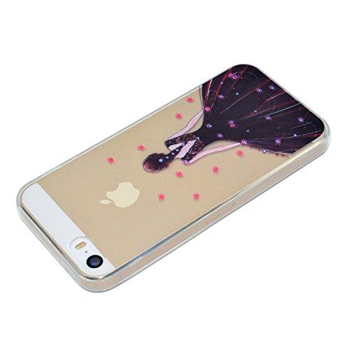 ARTLU® TPU Coque pour iPhone 5 5S SE Silicone Étui Souple Housse de Protection Swag Coque Cristal Clair Strass Case Cas de Couverture Absorbant Chocs Anti Rayures-A08 A10