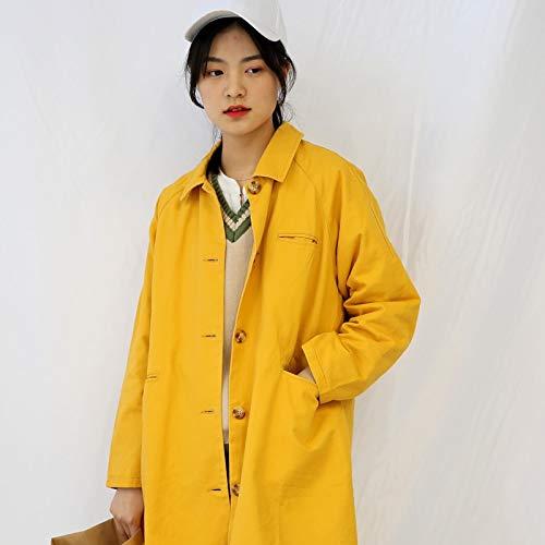 Shukun Mantel Frauen Windbreaker Jacke Herbst Winter lose Kragen langärmelig lässig Windjacke, Mango gelb, Uniform Code (Jacke Mango Frauen Leder)