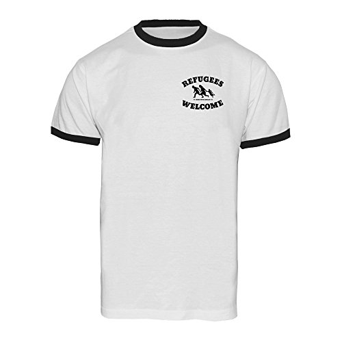 "Refugees welcome ""Bring your families"" (pocket print) Ringer Shirt (white) Weiß"