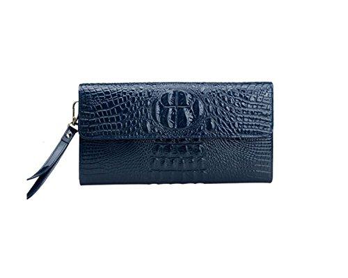 Womens Clutch Taschen Krokodil Muster Leder Handtasche Schulter Abendessen Tasche,Blue