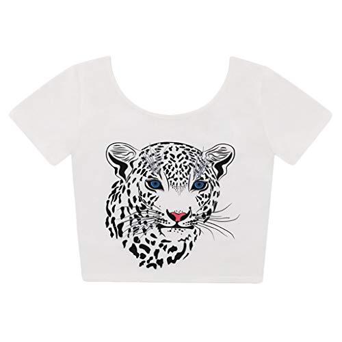 Zegeey Damen T-Shirt Sommer Top Bluse Oberteil Einfarbig Tierdruck Rundkragen Lose Blusen LäSsige Frauen Basic Tops Mode 2019(Weiß,38 DE/M CN)