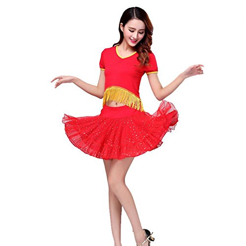 Wgwioo Sequin Bühne Performance Kleidung Frauen Latin Square Dance Kleid Cheerleader Kurzarm Praxis Match Uniformen Professionelle Sets, Red, M