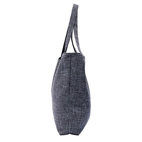 Tasche Schultertasche Reise Shopping Bag, abgefüttert - aus Webstoff Diablo Farbe 06 - Dark Grey 12 - Black