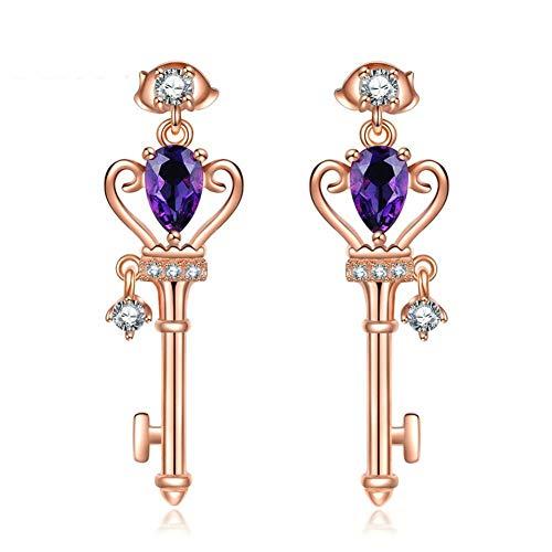 QQSS Crown Schlüssel Stud Ohrring 6X4Mm Natürliche Teardrop Amethyst 925 Sterling-Silber-Schmuck - Teardrop Ringe Amethyst