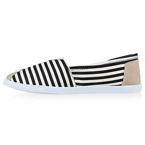 Schuhe Weiss Schwarz Streifen Slipper Damen Bast Sommer