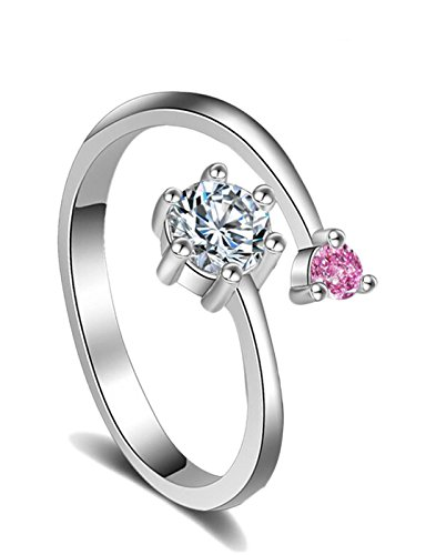 Karatcart Platinum Plated Elegant Classic Pink Crystal Adjustable Ring For Women