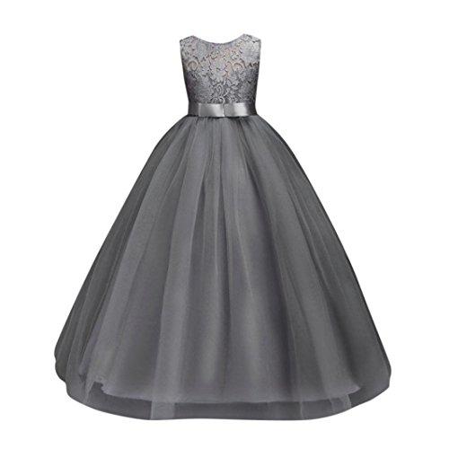 ❤️Kobay Blume Mädchen Prinzessin Brautjungfer Festzug Tutu Tüll-Kleid Party Hochzeit Kleid (Grau-1, 140 / 6Jahr)