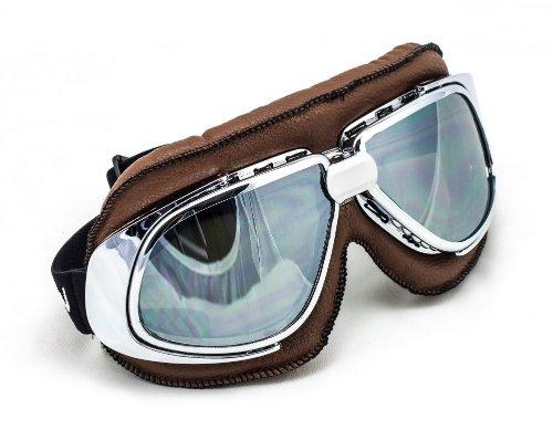SOXON SG-301 Aviator Vintage Vespa Scooter Flieger-Brille Schutz-Brille Goggles Biker Jet-Brille Oldtimer Sport-Brille Cruiser Motorrad-Brille Pilot Ski-Brille, Leder Design, Braun/Silber, Einheitsgröße