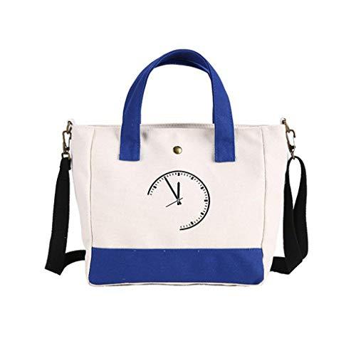Kairui Griff-Einkaufstasche, Baumwollsegeltuch-Crossbody-Umhängetasche Geldbörse Reisetasche Shopping Hobo Multifunktionstasche (rot/schwarz/blau) (Color : Blue) -
