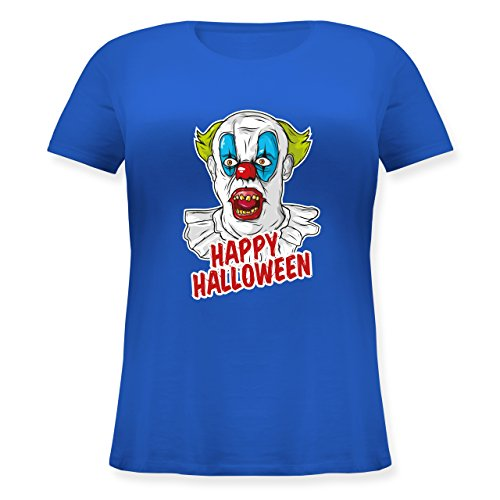 Halloween - Happy Halloween - Clown - XL (50/52) - Blau - JHK601 - Lockeres Damen-Shirt in großen Größen mit (Spooky Clown Kostüm)