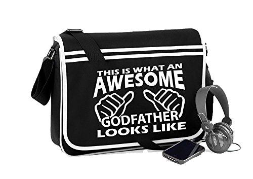 Awesome Godfather-Unisex-lustige Sprüche Neuheit Retro Messenger Bag- Schwarz