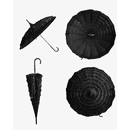 Surenhap Regenschirm, Sonnenschirm Spitze Vintage Pagodenförmig Schirm für Hochzeits-Zeremonie, Fotografie Requisiten, Beach-Party usw. (Schwarz)