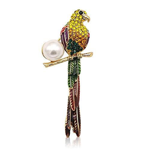 WSIOANJ Brosche Frauen Mode Klassisch Wild Bunte Kristall Papagei Broschen mit simulieren Perle für Frauen Strass Vogel Tier Brosche Pins Kostüm Schal s Geben Sie Ihren Freunden und Famili