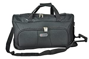 "5 Cities® 21"" Cabin Approved Super Lightweight Ripstop Fabric Wheeled Luggage Bag (Black) - 'Right Size, Right Weight, Right Price!' - LuggageTravelBags"