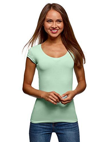 oodji Ultra Damen Baumwoll-T-Shirt mit V-Ausschnitt, Grün, DE 38 / EU 40 / M