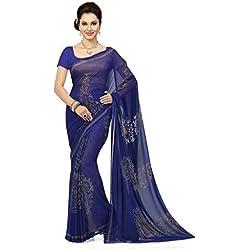 Ishin Georgette Saree (Ishinsb-8204_Royal Blue)