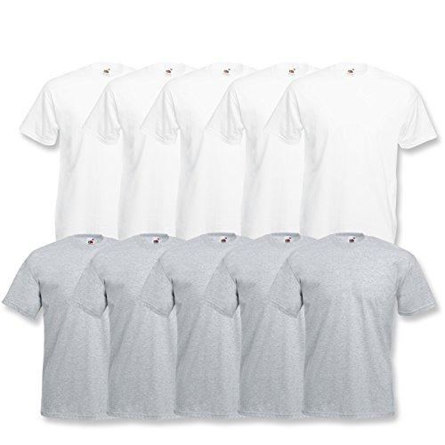 10 Fruit of the loom T Shirts Valueweight T Rundhals S M L XL XXL 3XL 4XL 5XL Übergröße Diverse Farbsets auswählbar (2XL, 5 Weiß / 5 Grau) -