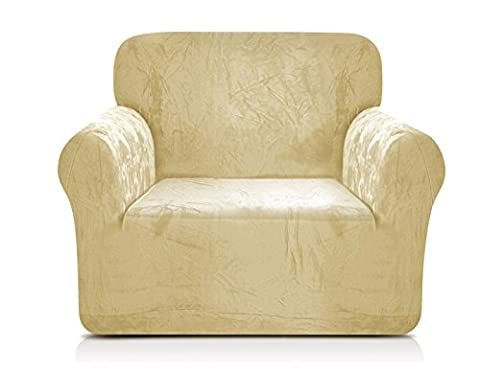 CHUN YI Coral Fleece Sofa Covers 1-Piece Polyester Spandex Fabric Stretch Slipcovers (Chair, Golden Yellow)