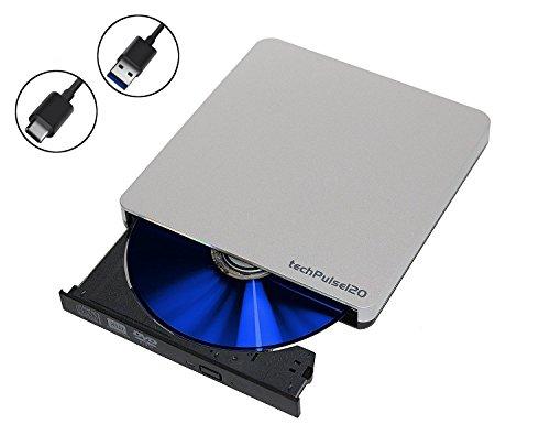 techPulse120 USB 3.0 & Type C externer DVD CD Brenner Burner Superdrive tragbares Laufwerk DVDRW CDRW Slim für Computer Notebook Ultrabook Windows Mac OS MacOS Apple iMAC Macbook Pro iMac Air