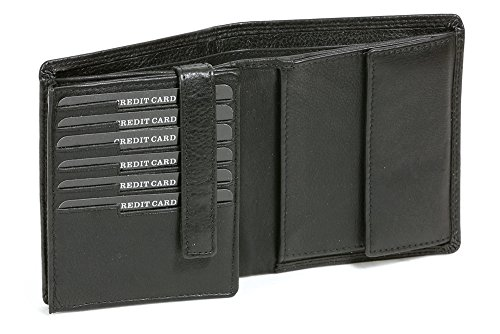 Kombibörse im Hochformat mit Klappe für viele Karten LEAS in Echt-Leder, schwarz - LEAS Escalera-Edition (Leder Klappe-karte -)