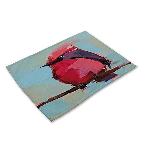 ZCHPDD Stampa di Uccello della Pittura A Olio del Cuscinetto di Alimento Occidentale di Arte della Tela E del Cotone P 42 * 32Cm * 6Pcs