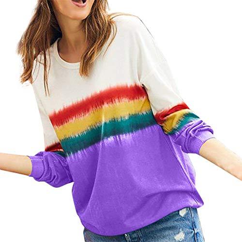 MOTOCO Damen Langarm T-Shirt Sweater Print Regenbogen Streifen Farbverlauf O-Ausschnitt T-Shirt Bluse Top(M,Lila)