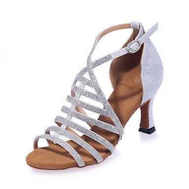 Silence @ Chaussures de danse pour femme Paillettes étincelante Paillettes scintillantes latine Sandales évasée Heelperformance/Practise/Professional/ marron