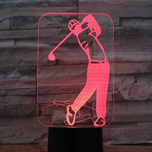 Aetd Schreibtischlampen Golf Player 3D LED Lampe 7 Bunte Acryl Lampe Als Hauptdekorationen Lichter Beste Budget Geschenk Für Ehemann Vater Freunde