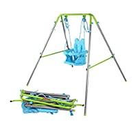 AH Folding Baby Swing with Adjustable Rabbit Head Safty Seat and Carry Bag Green