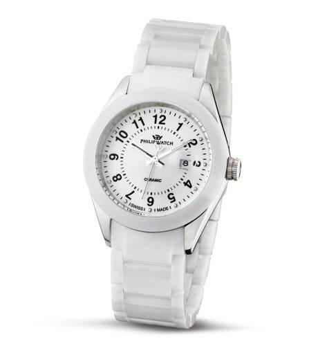 Philip Watch R8253207645 - Reloj analógico de cuarzo para mujer, correa de cerámica color blanco