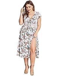 6a02c5df8 Vestido Bohemio de Verano para Mujer Falda Corta con Cuello en v Vestido de  Playa de