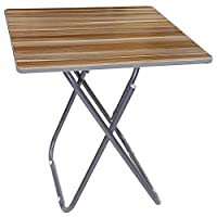 Wooden Square Folding Table with Metallic Stand,brown