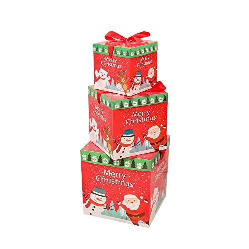 Cloud ROM Weihnachtsdeko Geschenkbox Groß Weihnachten Box mit Deckel Geschenkschachteln Geschenk Weihnachtsfenster-Verzierungen Anhänger Baumschmuck Weihnachten Deko Tür Fenster Home Deko (B)