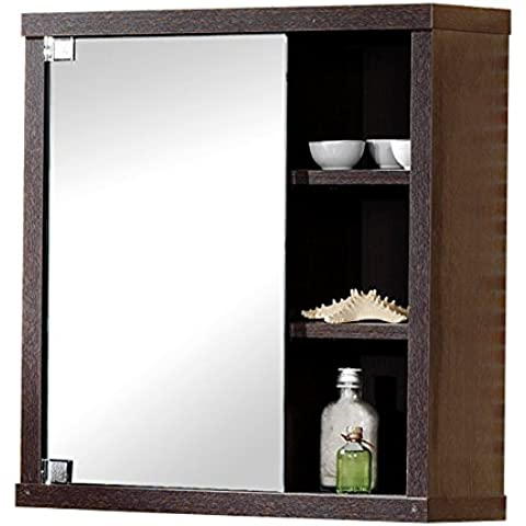Intradisa 8910 - Armario de baño con 1 puerta de espejo lateral wengue