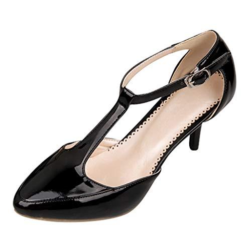 MakefortuneDamen Abgerundete Zehen Pfennigabsatz T-Träger Kleid Pumps Damenmode Pumps Schnalle Knöchelriemen Sandalen Rot Schwarz Grau Beige Mini T-strap-heels