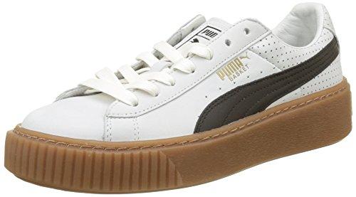 Puma Damen Basket Platform Perf Gum Sneaker, Weiß White-Black-Gold, 40.5 EU