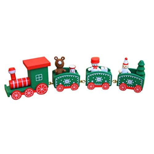 olz kleiner Zug Weihnachtszug Weihnachten Neujahr Deko Dekoration Ornament für Kinder Mädchen Junge Spielzeug Geschenke Tassenhalter der WeihnachtsZug (Grün) (Weihnachts-spielzeug Für Mädchen)