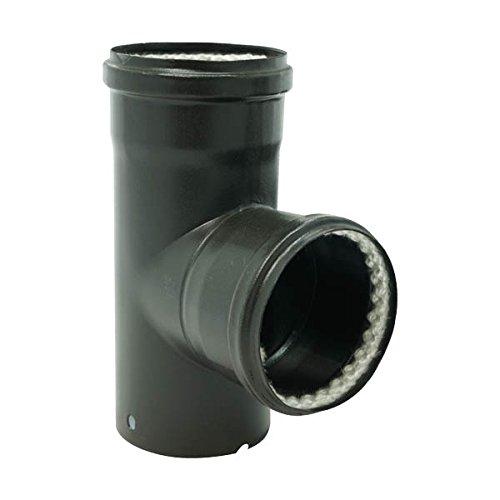 Té equerre 90° émail mat noir Diamètre 80mm pour poêles à Pellets avec 2 Joints fibre - 346449