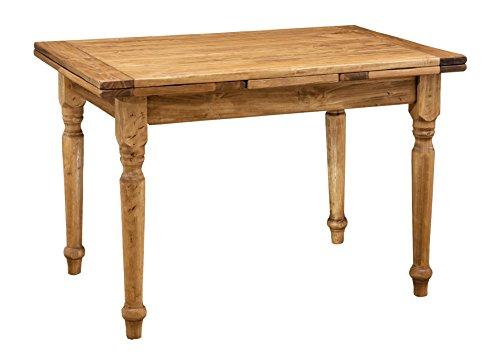 Tavolo allungabile in legno massello di tiglio - Stile Country - Finitura naturale 120x80x80 cm