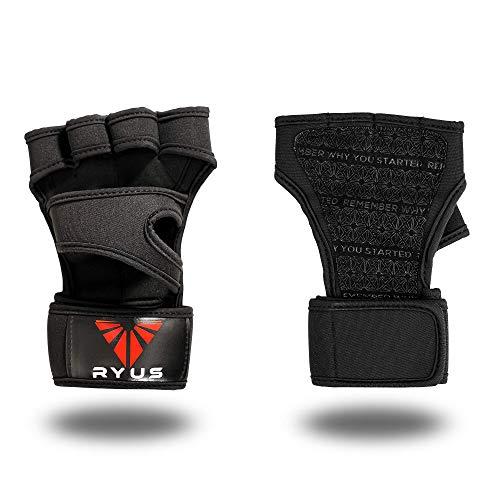 RYUS Fitnesshandschuhe, Fingerlose Trainingshandschuhe mit Extra Grip und Handgelenkstützen in schwarz (M) (Gewichtheben Gewicht Zu Verlieren)