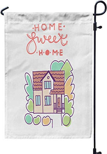 Rob565len Garden Flag Funny Flag 12x18 Inches Home Sweet Home Flat House Exterior with Trees Front Home Architecture c Double-Sided Holiday/Seasonal Welcome Flags