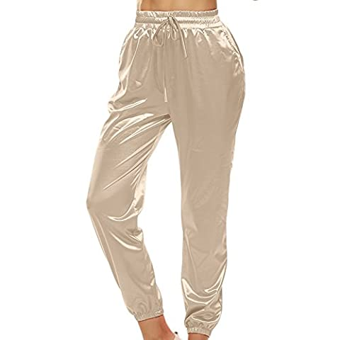 Women's Drawstring Pants Silk Satin Slim Fit Pencil Pants Trousers Casual Bottoms (UK 8-10, Beige)