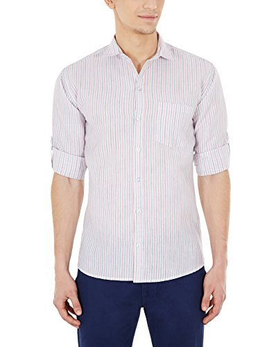 Blue Fire Men's Striped Full Sleeve Slim Fit Poly Cotton Casual Shirt (BF10070138)  available at amazon for Rs.349