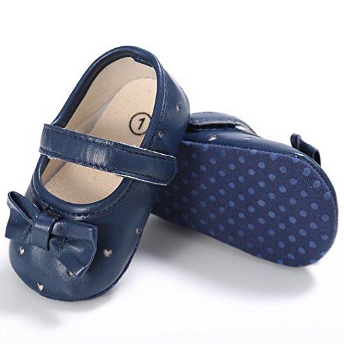 Clode® Bébé Enfant Kids Girl Souple Sole Crib Toddler Chaussures (12~ 18 mois, Blanc) Bleu
