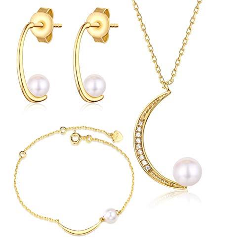 WANZIJING Perle Halbmond Schmuck Set, 925er Sterling Silber 9 Karat Gold Anhänger für Hochzeits Brautjungfern Geschenke,Jewelryset (Diamant-hochzeit-sets 2 Karat)